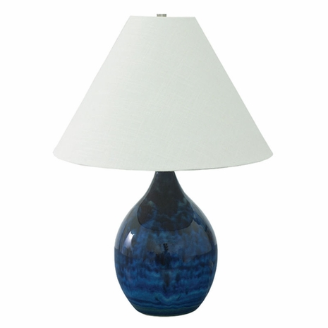 "GS300-MID House of Troy Scatchard 22.5"" Stoneware Table Lamp in Midnight Blue"