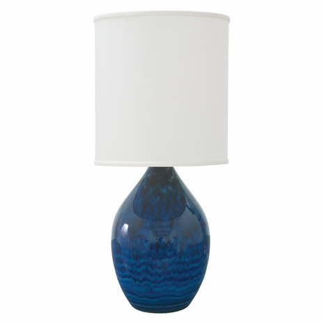 "GS301-MID House of Troy Scatchard 24"" Stoneware Table Lamp in Midnight Blue"