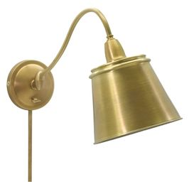 HP725-WB-MSWB House of Troy Hyde Park Wall Lamp Weathered Brass w/Metal Shade