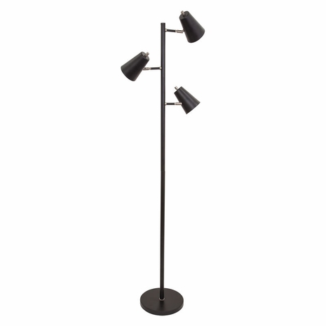 K130-BLK House of Troy Kirby LED three light floor lamp in black with satin nickel accents