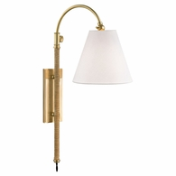 MDS501 Hudson Valley Curves No.1 1 Light Adjustable Wall Sconce W/ Rattan Accent