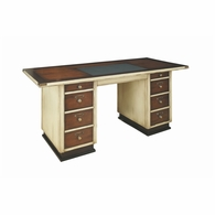 MF013 Authentic Models Ivory Leather inset Top Captains Desk of Cherry and Maple