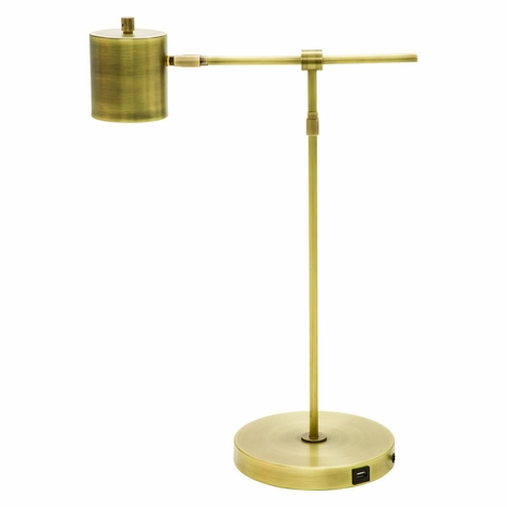MO250-AB House of Troy Morris Adjustable LED Table Lamp with USB port in Antique Brass
