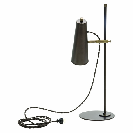 NOR350-CHBAB House of Troy Norton Adjustable LED Table Lamp in Chestnut Bronze with Antique Brass Accents