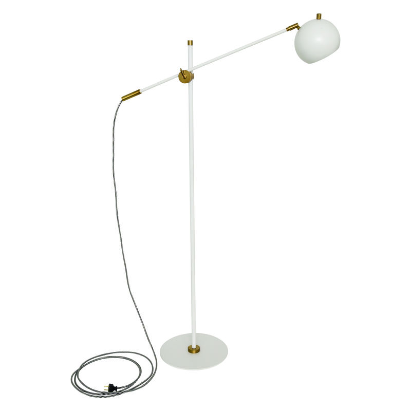 OR700-WTWB House of Troy Orwell LED Counterbalance Floor Lamp in White with Weathered Brass Accents