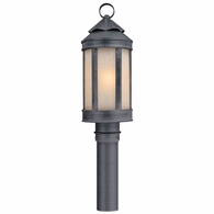 P1464AI Troy Hand-Worked Iron Exterior Andersons Forge 1Lt Post Lantern Medium with Antique Iron Finish