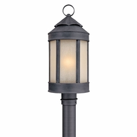 P1465AI Troy Hand-Worked Iron Exterior Andersons Forge 1Lt Post Lantern Large with Antique Iron Finish