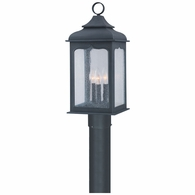 P2015CI Troy Hand-Worked Iron Exterior Henry Street 3Lt Post Lantern Medium with Colonial Iron Finish