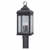 P2016CI Troy Hand-Worked Iron Exterior Henry Street 4Lt Post Lantern Large with Colonial Iron Finish