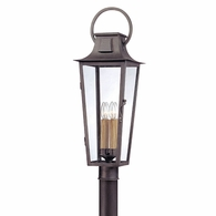 P2965 Troy Hand-Forged Iron Exterior Parisian Square 4Lt Post Lantern Large with Aged Pewter Finish