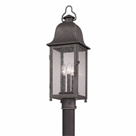 P3215 Troy Hand-Worked Iron Exterior Larchmont 3Lt Post Lantern Medium with Aged Pewter Finish