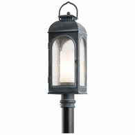 P3285 Troy Cast Aluminum Exterior Derby 1Lt Post Lantern Medium with Antique Iron Finish
