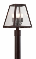 P3435-C Troy Hand-Worked Iron Exterior Amherst 4Lt Post Lantern Large with River Valley Rust Finish