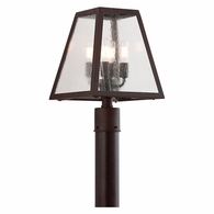 P3435 Troy Hand-Worked Iron Exterior Amherst 4Lt Post Lantern Large with River Valley Rust Finish