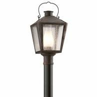 P3764NR Troy Solid Brass Exterior Nantucket 1Lt Post Lantern Medium with Natural Rust Finish