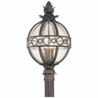 P5006CB Troy Hand-Worked Iron And Aluminum Exterior Campanile 3Lt Post Lantern  Large with Campanile Bronze Finish
