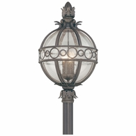 P5007CB Troy Hand-Worked Iron And Aluminum Exterior Campanile 4Lt Post Lantern Extra Large with Campanile Bronze Finish
