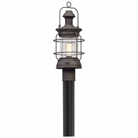 P5055 Troy Hand-Worked Iron Exterior Atkins 1Lt Post Lantern Medium with Centennial Rust Finish