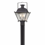 P5075CI Troy Solid Brass Exterior Wellesley 3Lt Post Lantern Medium with Charred Iron Finish