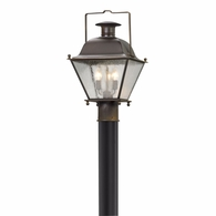 P5075NR Troy Solid Brass Exterior Wellesley 3Lt Post Lantern Medium with Natural Rust Finish