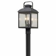 P5085 Troy Solid Aluminum Exterior Chamberlain 3Lt Post Lantern Medium with Vintage Bronze Finish
