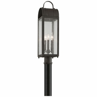 P5094CI Troy Solid Brass Exterior Bostonian 3Lt Post Lantern Medium with Charred Iron Finish