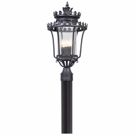 P5135 Troy Hand-Forged Iron And Aluminum Exterior Greystone 3Lt Post Lantern Medium with Forged Iron Finish