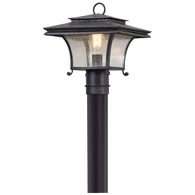 P5145 Troy Hand-Forged Iron And Aluminum Exterior Grammercy 1Lt Post Lantern Medium with Forged Iron Finish