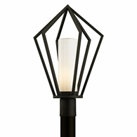 P6345 Troy Hand-Worked Iron Exterior Whitley Heights 1Lt Post with Textured Black Finish