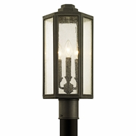 P6415 Troy Solid Aluminum Exterior Hancock 3Lt Post with Vintage Bronze Finish