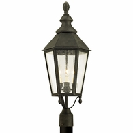 P6435 Troy Solid Aluminum Exterior Savannah 3Lt Post with Vintage Iron Finish