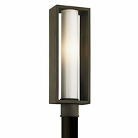 P6495 Troy Solid Aluminum Exterior Mondrian 1Lt Post with Textured Bronze Finish