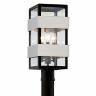 P6525 Troy Stainless Steel Exterior Dana Point 3Lt Post with Black With Brushed Stainless Finish