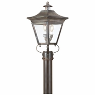 P8931CI Troy Solid Brass Exterior Oxford 2Lt Post Lantern Medium with Charred Iron Finish