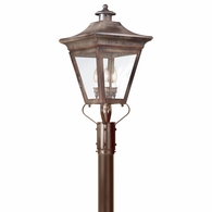 P8934NR Troy Solid Brass Exterior Oxford 3Lt Post Lantern 3Lt Post Lantern Large with Natural Rust Finish