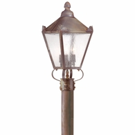 P8944NR Troy Solid Brass Exterior Preston 3Lt Post Lantern Medium with Natural Rust Finish