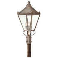 P8947NR Troy Solid Brass Exterior Preston 4Lt Post Lantern Large with Natural Rust Finish