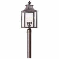 P9006OBZ Troy Hand-Forged Iron Exterior Newton 3Lt Post Lantern Large with Old Bronze Finish