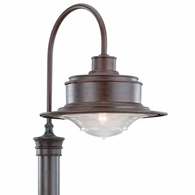 P9393OR Troy Hand-Forged Iron Exterior South Street 1Lt Post Downlight Medium with Old Rust Finish