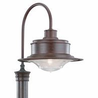 P9394OR Troy Hand-Forged Iron Exterior South Street 1Lt Post Downlight Large with Old Rust Finish