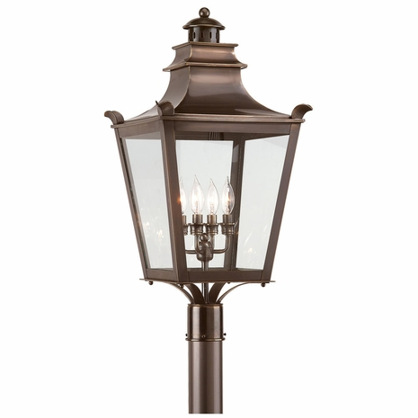 P9497EB Troy Solid Brass Exterior Dorchester 4Lt Post Lantern Large with English Bronze Finish
