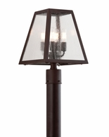 PCD3435-C Troy Hand-Worked Iron Exterior Amherst 4Lt Post Lantern Large with River Valley Rust Finish