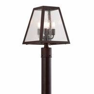 PCD3435 Troy Hand-Worked Iron Exterior Amherst 4Lt Post Lantern Large with River Valley Rust Finish