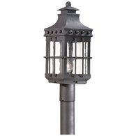 PCD8972NB Troy Hand-Forged Iron Exterior Dover 1Lt Post Lantern Medium with Natural Bronze Finish