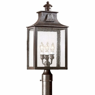 PCD9006OBZ Troy Hand-Forged Iron Exterior Newton 3Lt Post Lantern Large with Old Bronze Finish