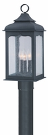 PF2015CI Troy Hand-Worked Iron Exterior Henry Street 1Lt Post Lantern Fluorescent Medium with Colonial Iron Finish