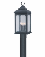 PF2016CI Troy Hand-Worked Iron Exterior Henry Street 1Lt Post Lantern Fluorescent Large with Colonial Iron Finish