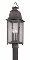 PF3215 Troy Hand-Worked Iron Exterior Larchmont 1Lt Post Lantern Fluorescent Medium with Aged Pewter Finish