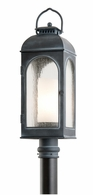 PF3285 Troy Cast Aluminum Exterior Derby 1Lt Post Lantern Medium with Antique Iron Finish