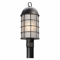 PF4435 Troy Hand-Worked Iron Exterior Charlemagne 1Lt Post Flourescent Medium with Aged Pewter Finish